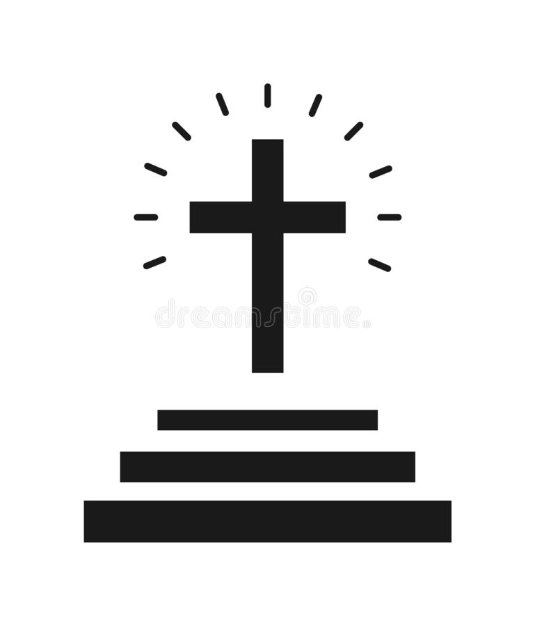 Ícone transversal da igreja ilustração royalty free