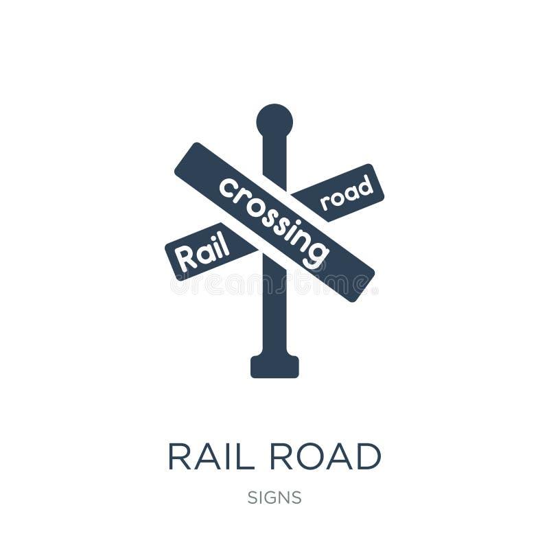 ícone transversal do cruzamento de estrada de trilho no estilo na moda do projeto ícone transversal do cruzamento de estrada de t ilustração do vetor