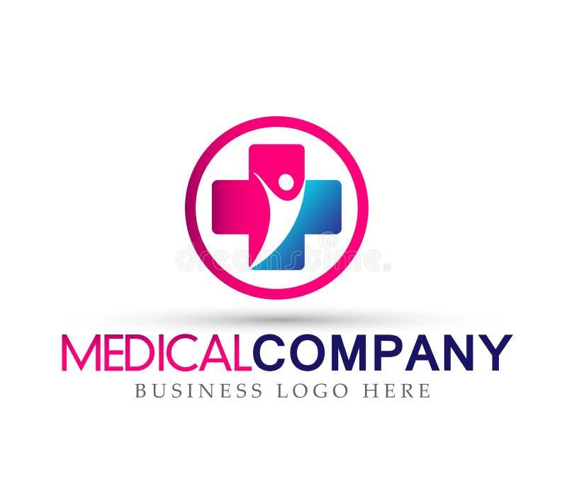 Ícone transversal do logotipo da família dos cuidados médicos no fundo branco ilustração stock