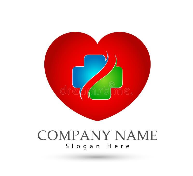 Ícone transversal dos cuidados médicos no coração vermelho ilustração royalty free