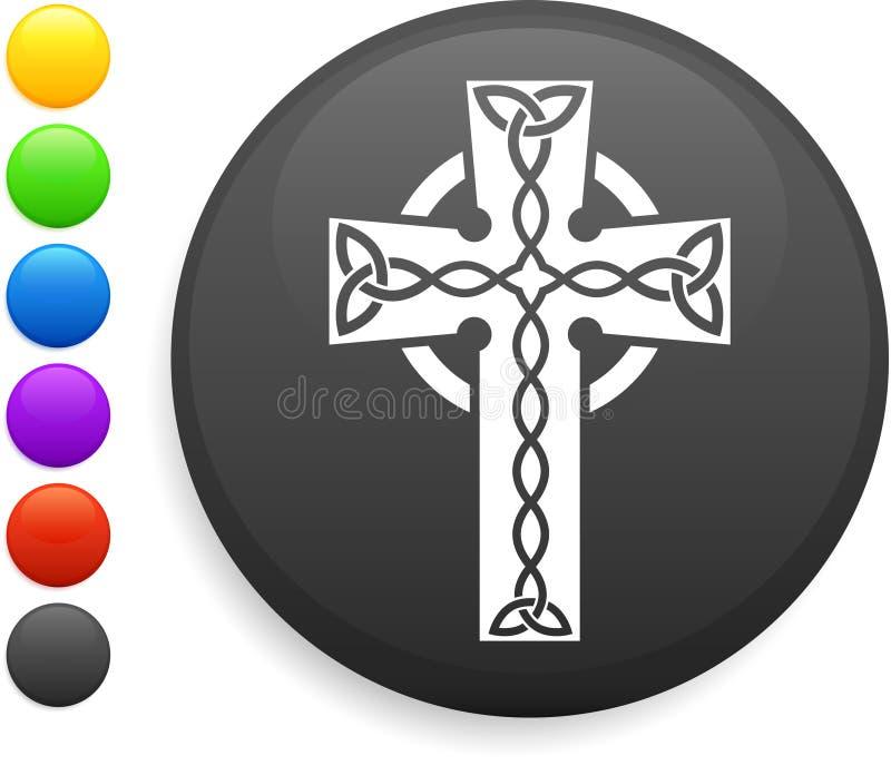 Ícone transversal na tecla redonda do Internet ilustração royalty free