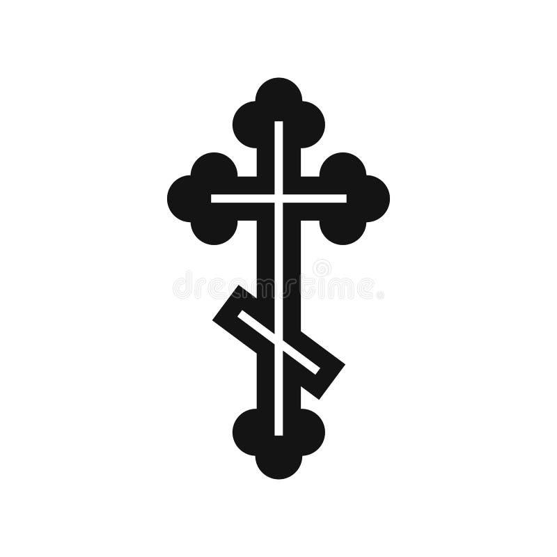 Ícone transversal ortodoxo, estilo simples ilustração stock