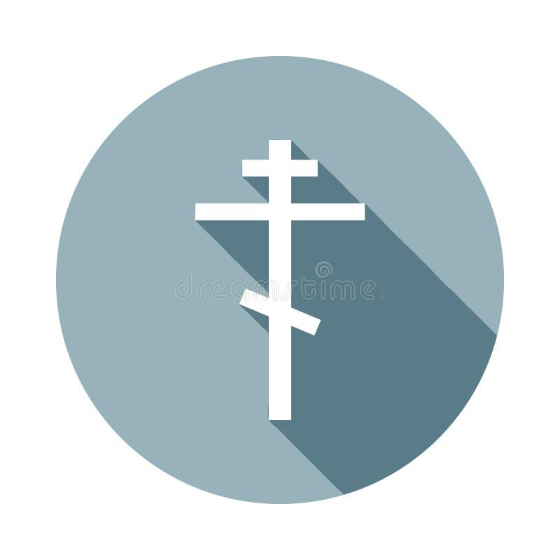 Ícone transversal religioso no estilo longo liso da sombra Um do ícone da coleção da Web pode ser usado para UI, UX ilustração stock