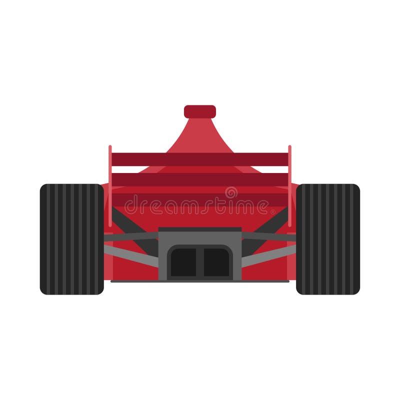 Ícone traseiro vermelho do vetor da opinião de carro de competência da fórmula 1 Movimentação extrema do veículo f1 do motorsport ilustração stock