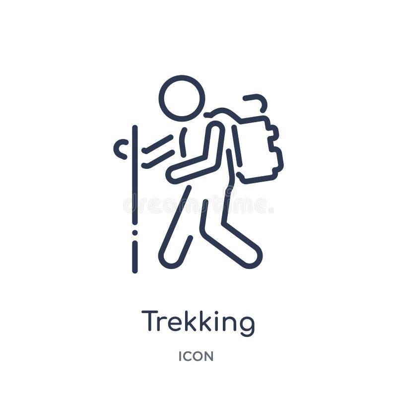 Ícone trekking linear da coleção do esboço do tempo livre Linha fina vetor trekking isolado no fundo branco trekking na moda ilustração stock