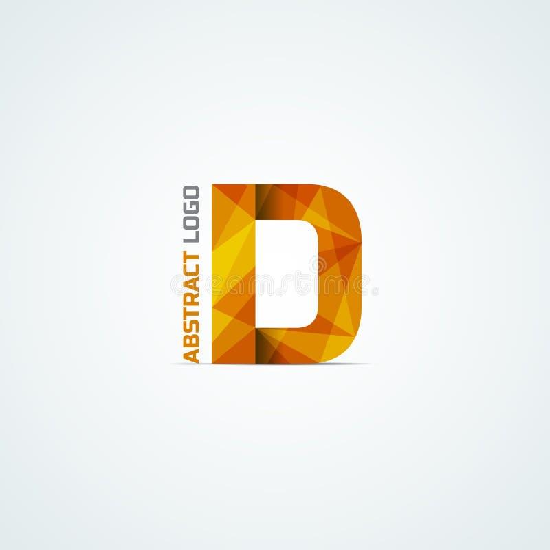 Ícone triangular abstrato da letra D ilustração stock