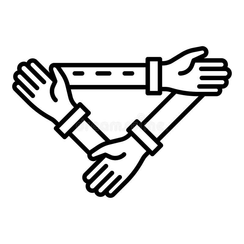 Ícone triangular da coesão da mão, estilo do esboço ilustração royalty free