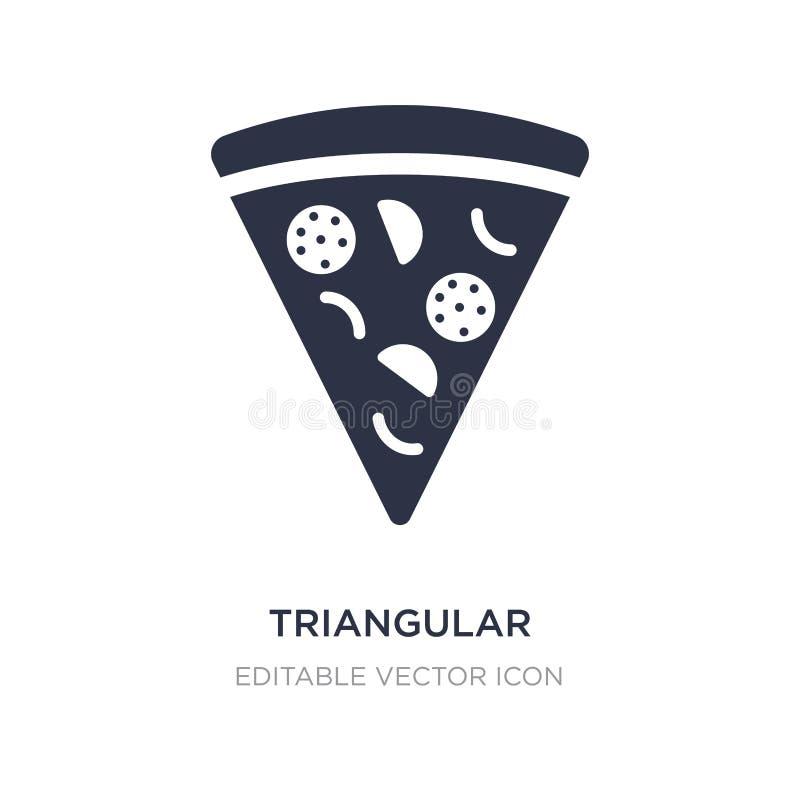 ícone triangular da fatia da pizza no fundo branco Ilustração simples do elemento do conceito do alimento ilustração do vetor