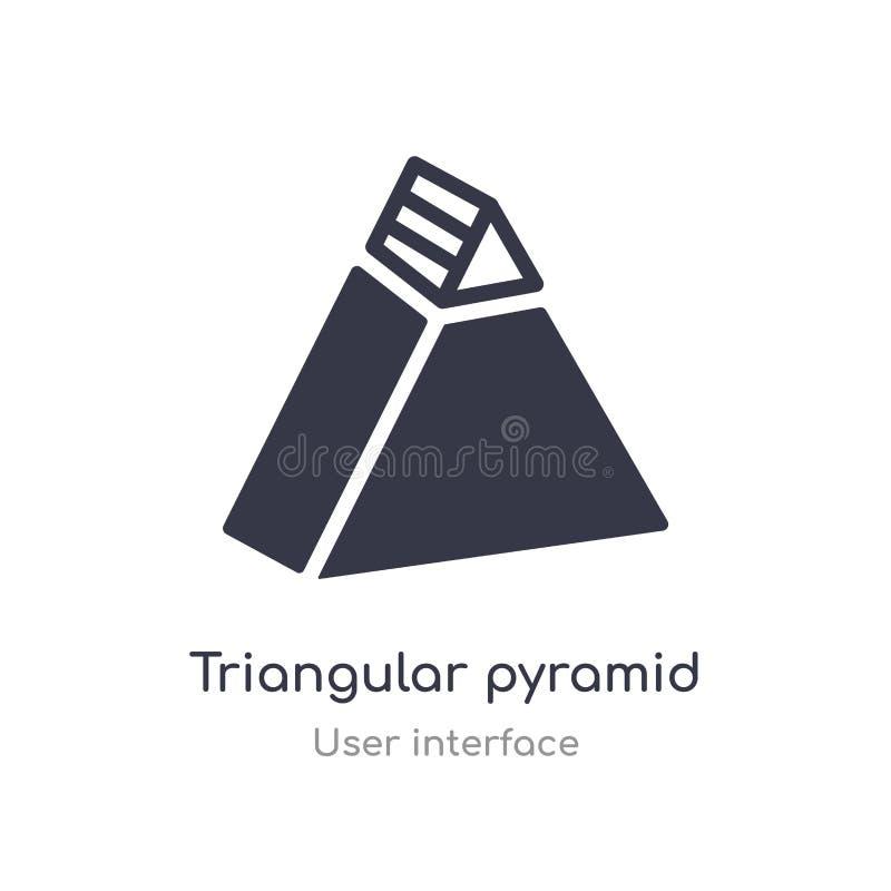 ícone triangular do esboço da pirâmide linha isolada ilustra??o do vetor da cole??o da interface de usu?rio curso fino editável t ilustração stock