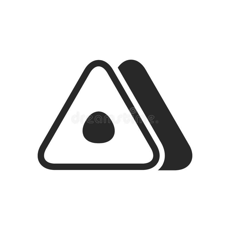 Ícone triangular japonês monocromático do onigiri do rolo no fundo branco ilustração do vetor