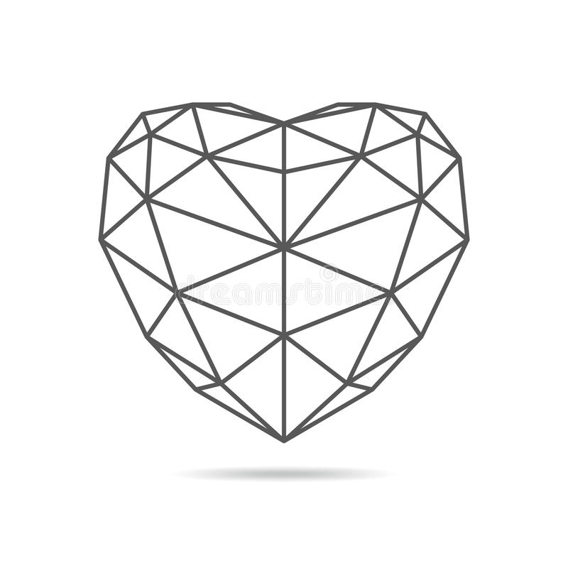 Ícone triangular preto do coração Ilustração do vetor ilustração do vetor