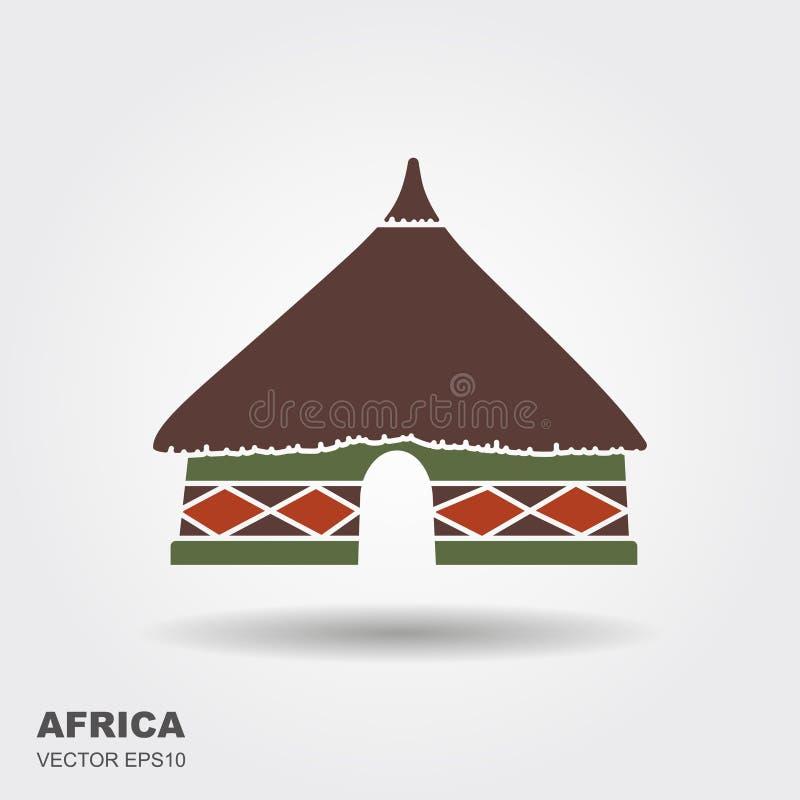 Ícone tribal africano da cabana isolado no fundo branco ilustração royalty free
