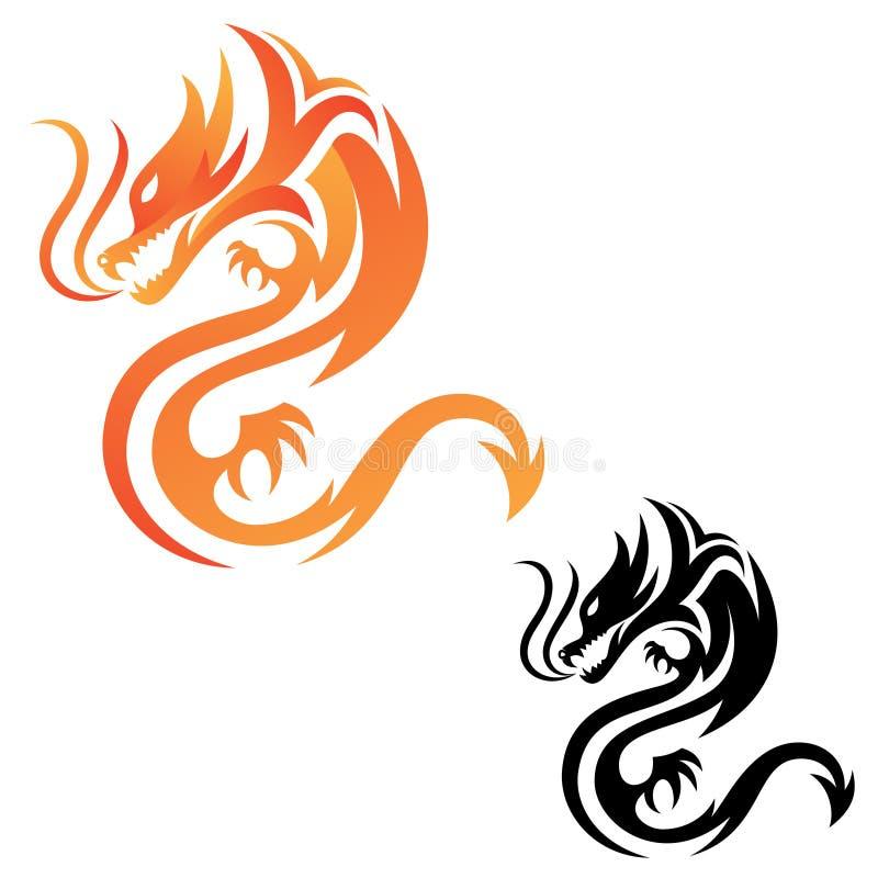 Ícone tribal do vetor do fogo do dragão para o projeto gráfico, a Web e o app ilustração royalty free