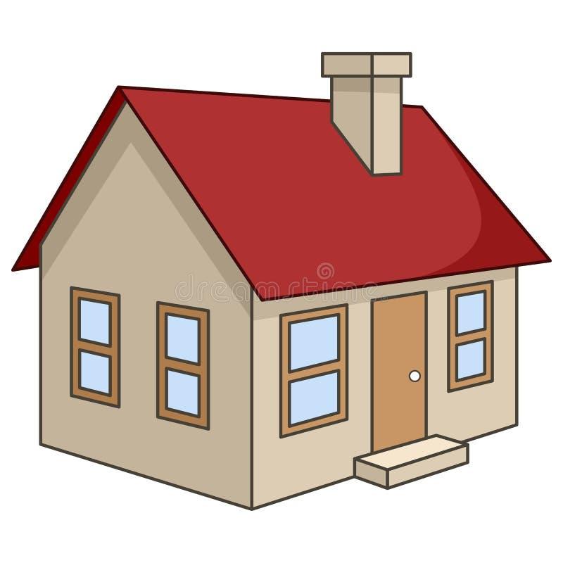 Ícone tridimensional da casa dos desenhos animados ilustração do vetor