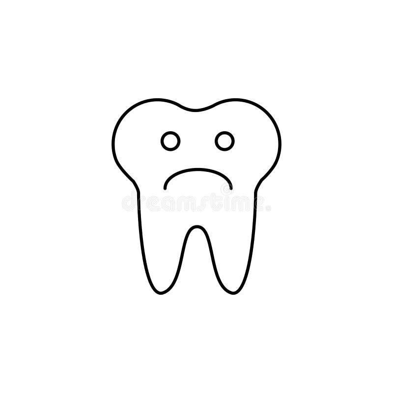 Ícone triste do sinal da cara do dente Símbolo de dor do dente Dentes insalubres Relate ícones do tiquetaque do original, da info ilustração royalty free
