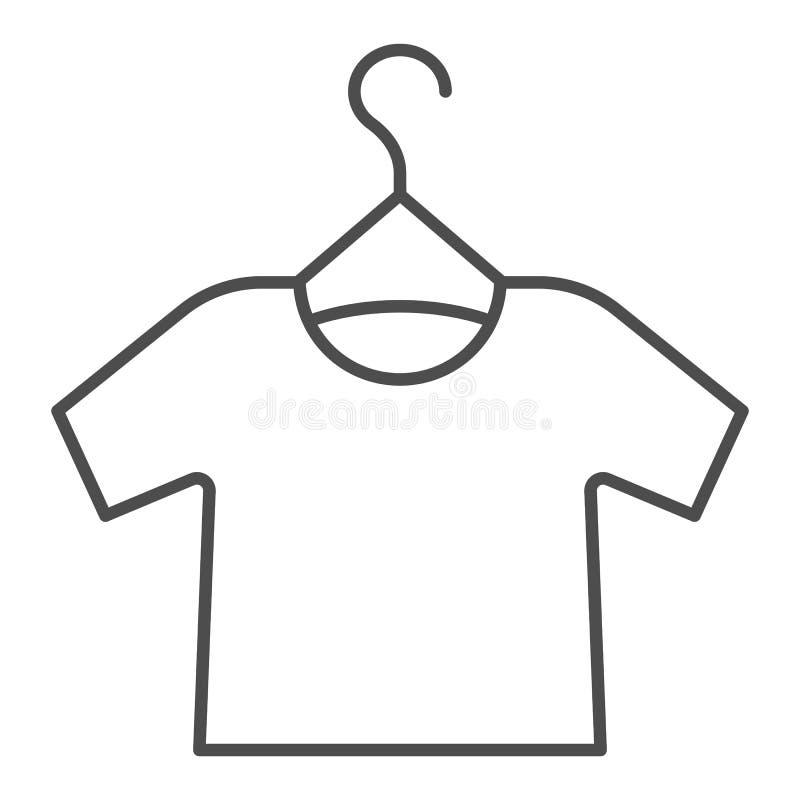 Ícone Tshirt on hanger thin line. Ilustração vetorial de desvio de camisa isolada em branco. Design de estilo do contorno de ve ilustração stock