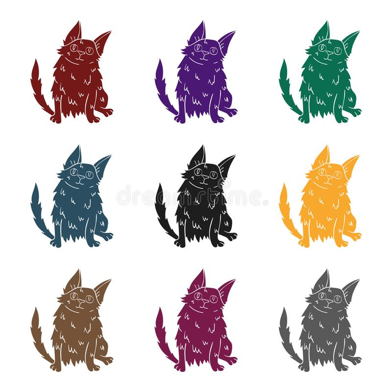 Ícone turco do angora no estilo preto isolado no fundo branco O gato produz a ilustração conservada em estoque do vetor do símbol ilustração royalty free