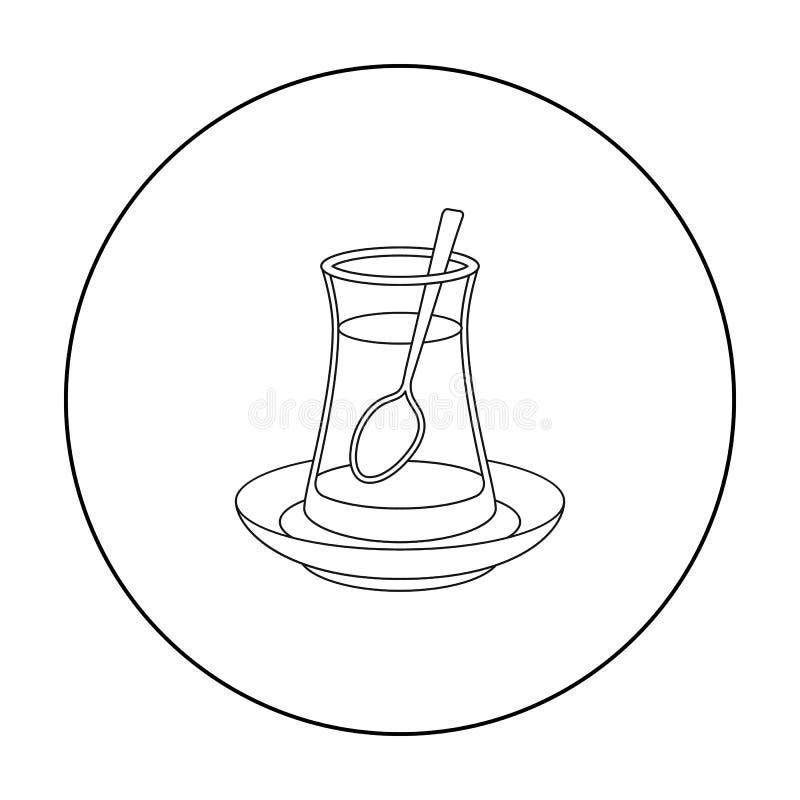 Ícone turco do chá no estilo do esboço isolado no fundo branco Ilustração do vetor do estoque do símbolo de Turquia ilustração royalty free