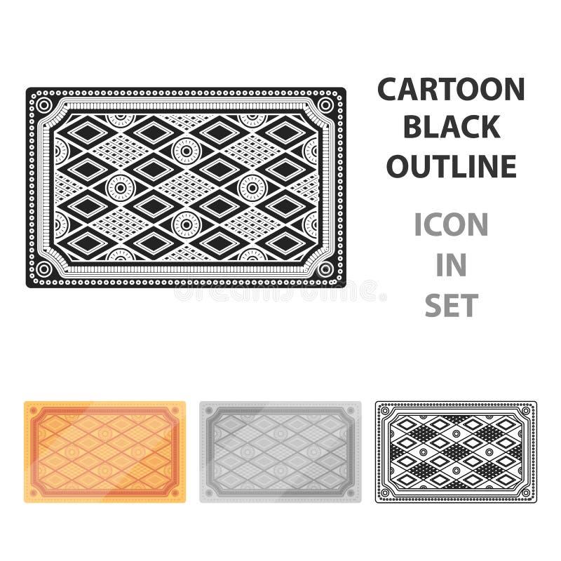 Ícone turco do tapete no estilo dos desenhos animados isolado no fundo branco Ilustração do vetor do estoque do símbolo de Turqui ilustração stock