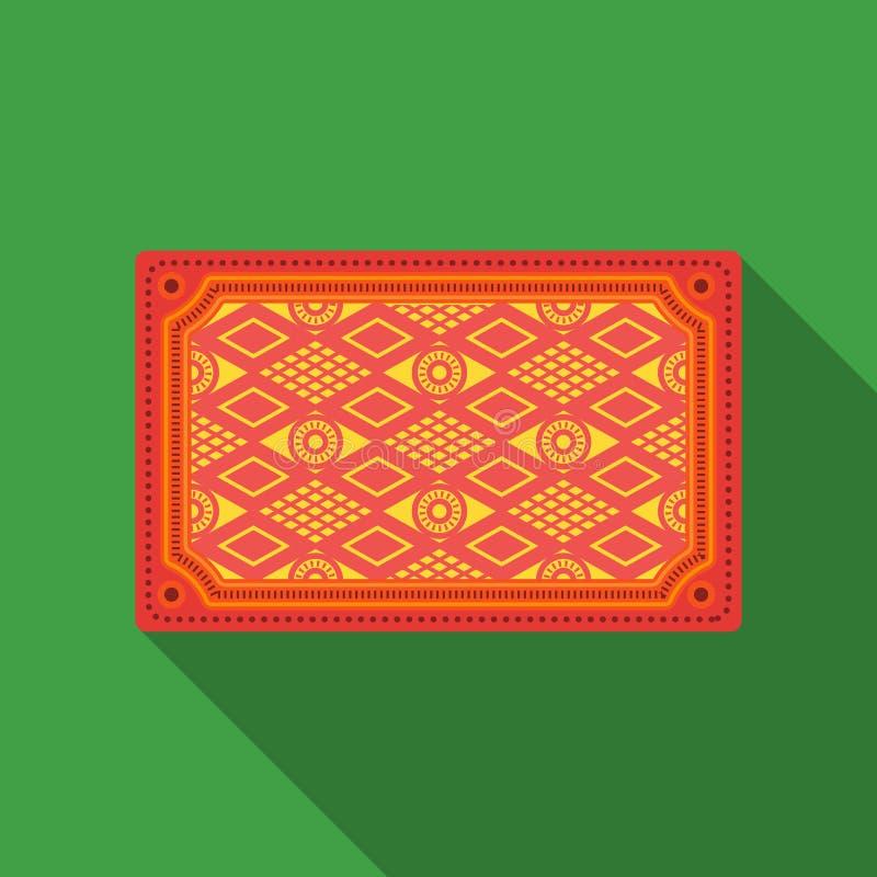 Ícone turco do tapete no estilo liso isolado no fundo branco Ilustração do vetor do estoque do símbolo de Turquia ilustração stock
