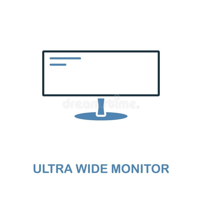 Ícone ultra largo do monitor em duas cores Símbolo simples do elemento Projeto ultra largo do ícone do monitor da coleção do comp ilustração royalty free