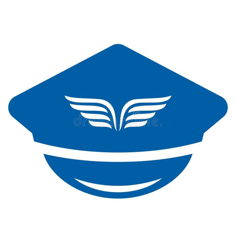 Ícone uniforme do chapéu da aviação ilustração stock