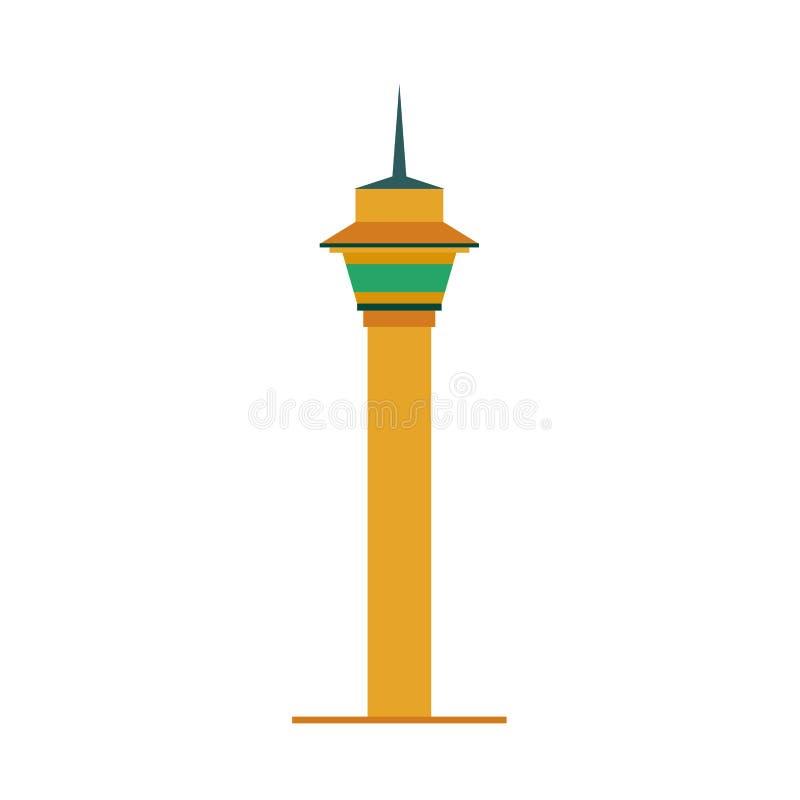 Ícone urbano do vetor do projeto do símbolo do monumento da torre Opinião dianteira da silhueta histórica da ilustração do turist ilustração do vetor