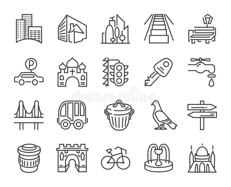 Ícone urbano e da cidade do elemento ajustado na linha simples na moda estilo da arte ilustração do vetor