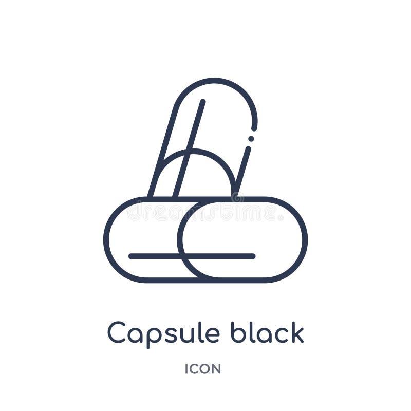 Ícone variante preto e branco da cápsula linear da coleção humana do esboço das partes do corpo Linha fina variação preto e branc ilustração royalty free
