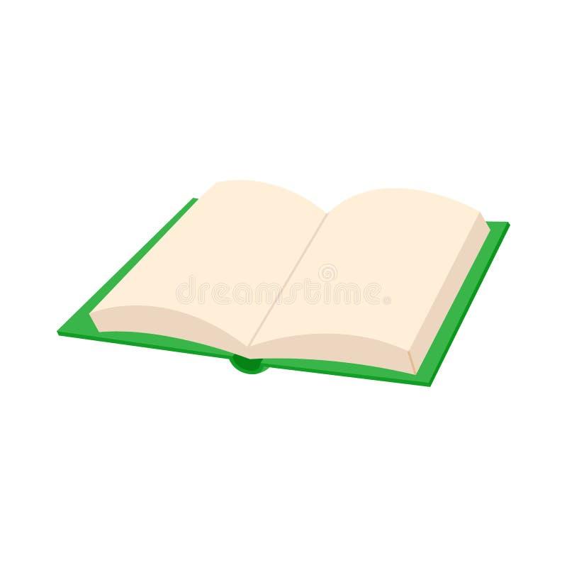 Ícone vazio aberto do livro, estilo dos desenhos animados ilustração do vetor