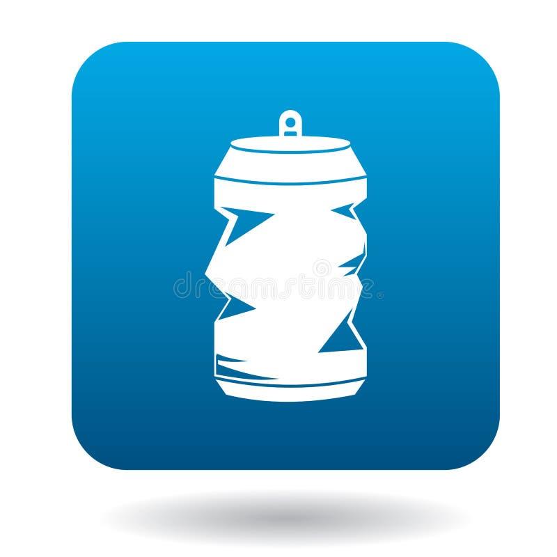 Ícone vazio amarrotado da lata da soda ou de cerveja, estilo simples ilustração royalty free