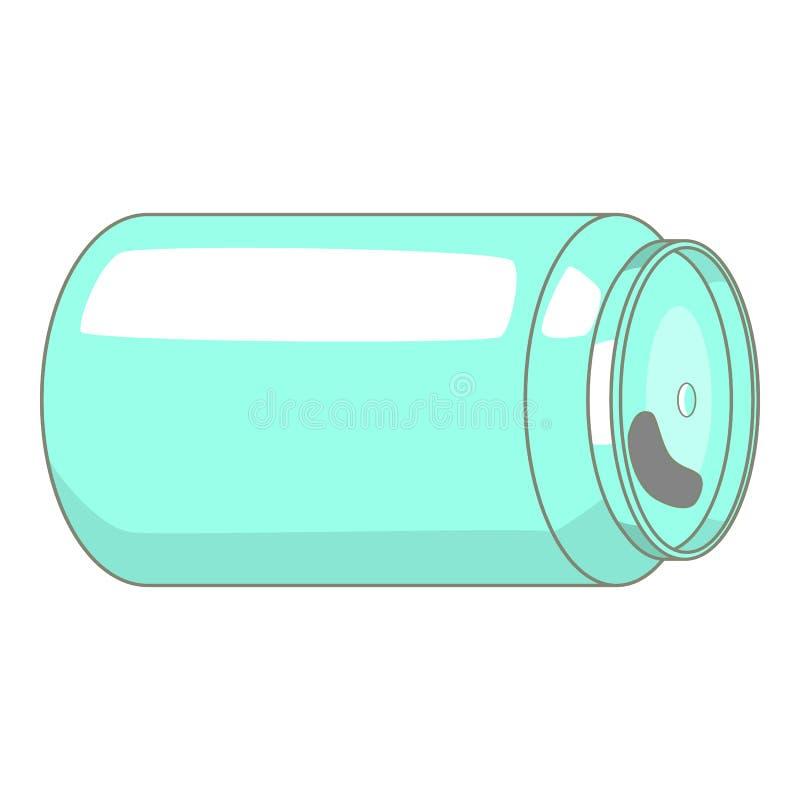 Ícone vazio da lata da soda ou de cerveja, estilo dos desenhos animados ilustração stock
