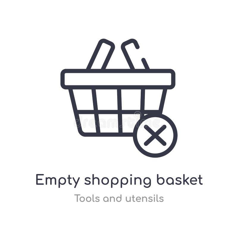 ícone vazio do esboço do cesto de compras linha isolada ilustra??o do vetor da cole??o das ferramentas e dos utens?lios curso fin ilustração do vetor