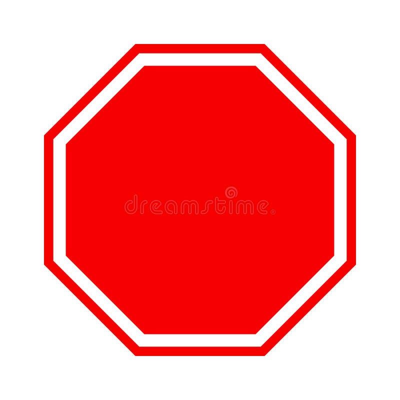 Ícone vazio do sinal da parada, vermelho isolado no fundo branco, ilustração do vetor ilustração royalty free