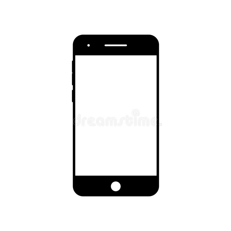Ícone vazio do smartphone Símbolo do telefone celular Dispositivo móvel, molde de PDA ilustração stock