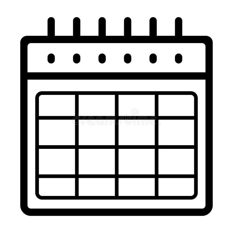 Ícone vazio do vetor do calendário Ilustração preto e branco do calendário Ícone linear do organizador do esboço ilustração do vetor