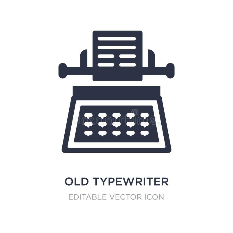 ícone velho da máquina de escrever no fundo branco Ilustração simples do elemento do conceito geral ilustração stock