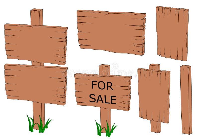 Ícone velho de madeira da placa do sinal ajustado para o vetor SVG da ilustração da venda ilustração stock