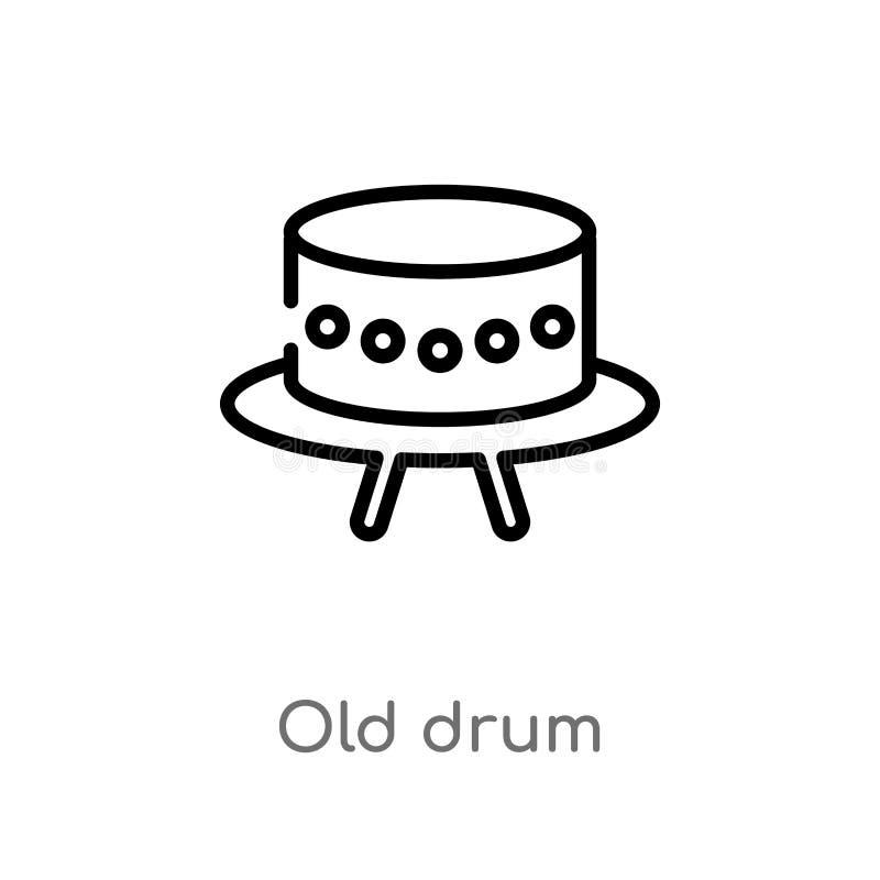 ícone velho do vetor do cilindro do esboço linha simples preta isolada ilustração do elemento do conceito da música cilindro velh ilustração do vetor
