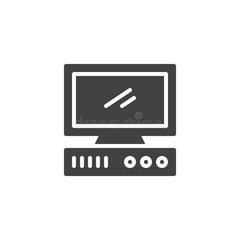 Ícone velho do vetor do computador ilustração do vetor