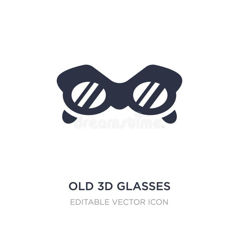 ícone velho dos vidros 3d no fundo branco Ilustração simples do elemento do conceito do cinema ilustração royalty free