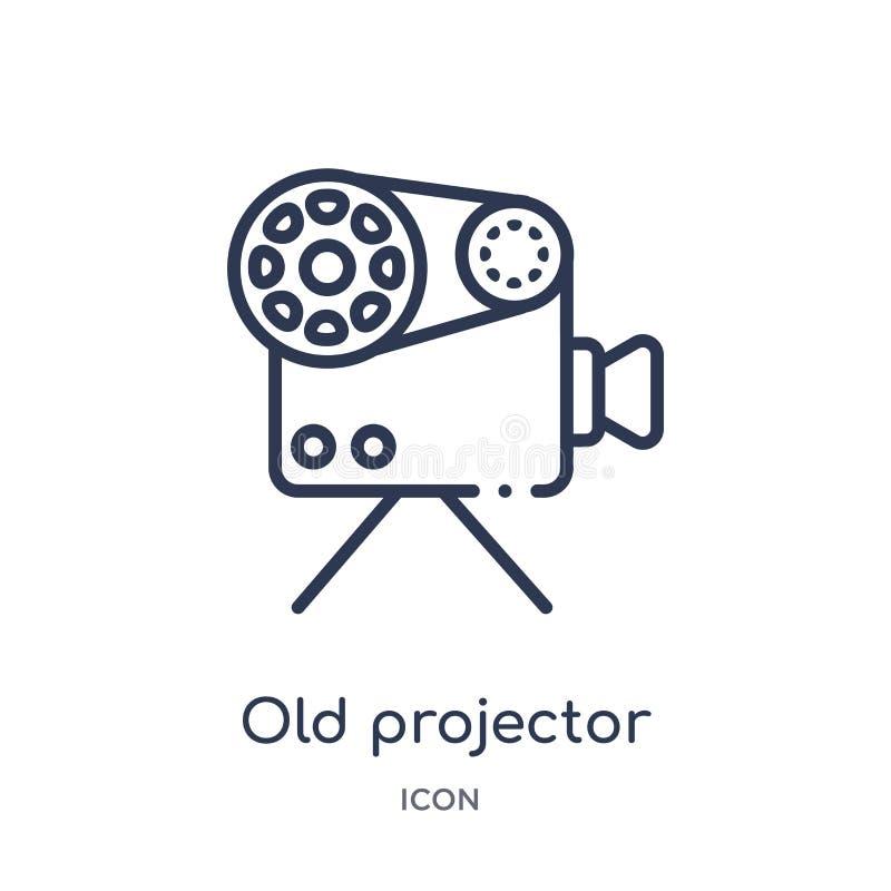 Ícone velho linear do projetor da coleção do esboço do cinema Linha fina vetor velho do projetor isolado no fundo branco velho ilustração royalty free