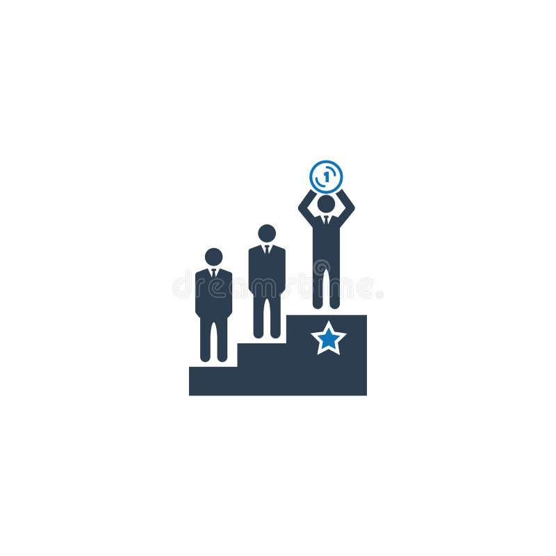Ícone Vencedor de Negócios Celebrando, empresário Pessoas em pé no ícone da plataforma ilustração stock