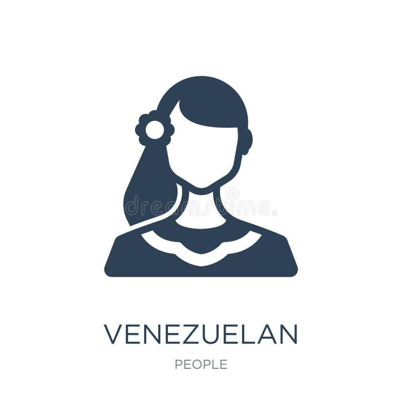 ícone venezuelano no estilo na moda do projeto ícone venezuelano isolado no fundo branco ícone venezuelano do vetor simples e mod ilustração stock