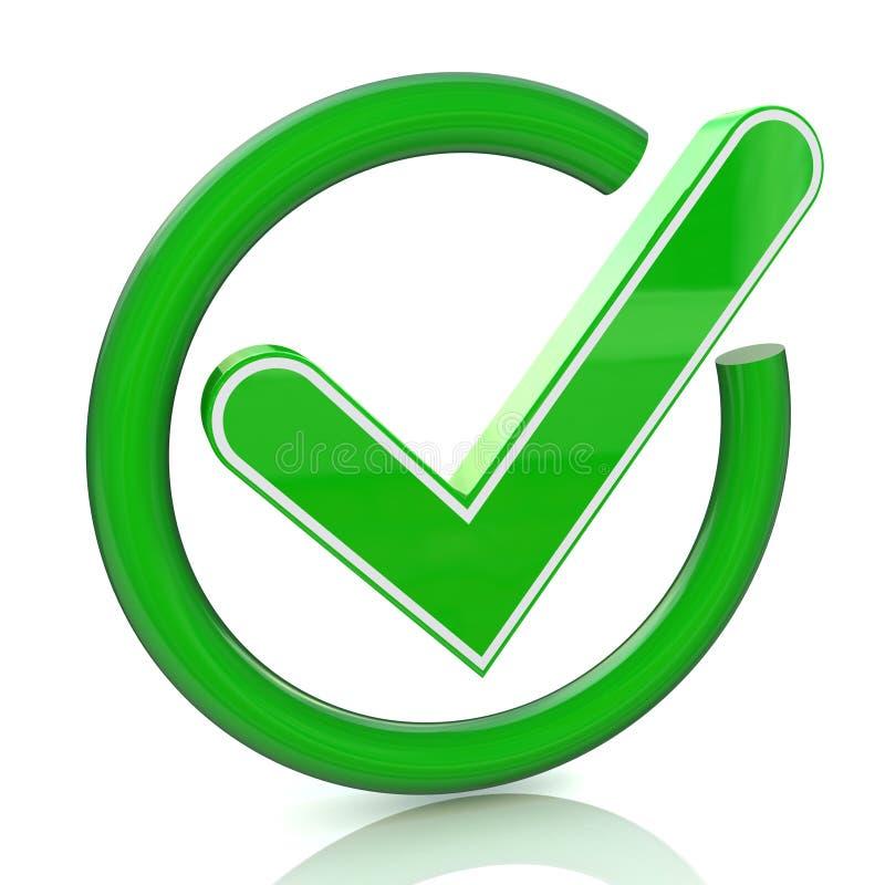 Ícone verde 3d do sinal do tiquetaque Símbolo de vidro da marca de verificação ilustração do vetor
