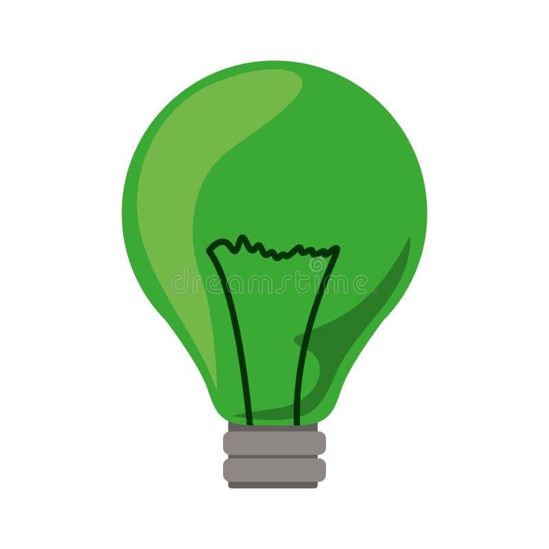 ícone verde da ampola com filamentos ilustração stock