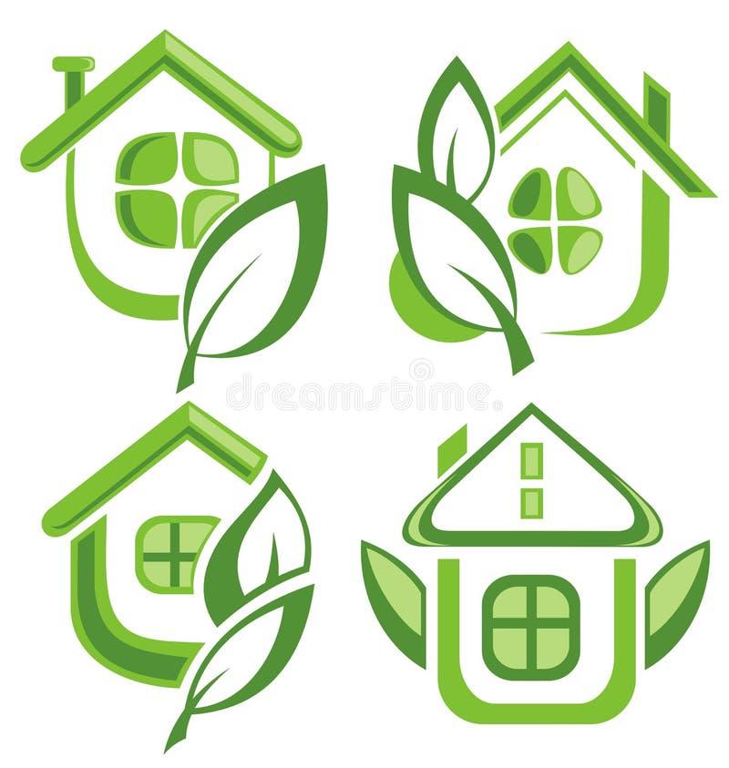 Grupo de ícone verde da casa do eco ilustração royalty free