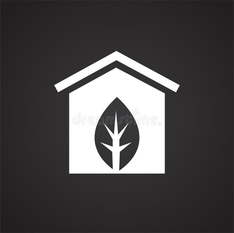 Ícone verde da casa no fundo preto para o gráfico e o design web, sinal simples moderno do vetor Conceito do Internet Símbolo na  ilustração do vetor