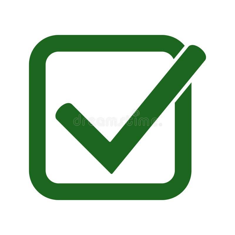 Ícone verde da marca de verificação Símbolo do tiquetaque na cor verde, ilustração do vetor ilustração stock