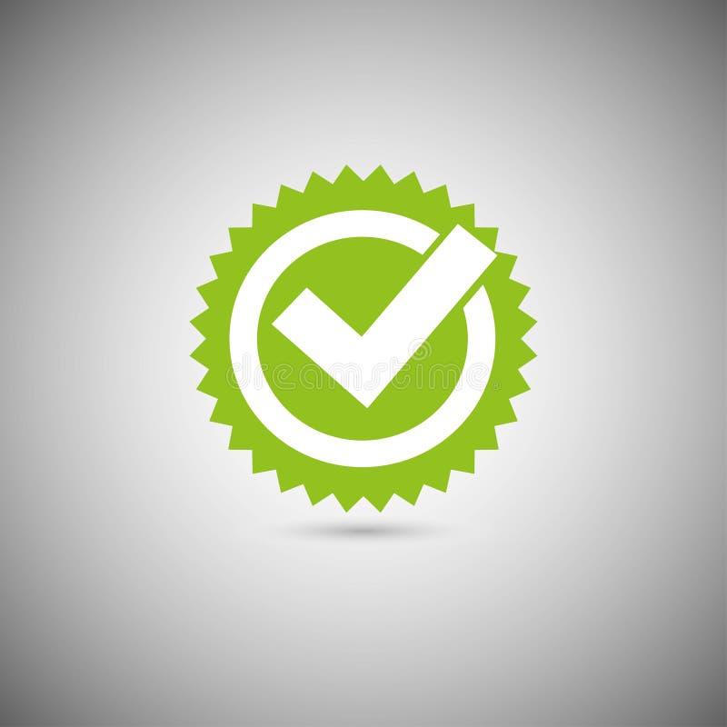 Ícone verde da marca do tiquetaque ilustração do vetor